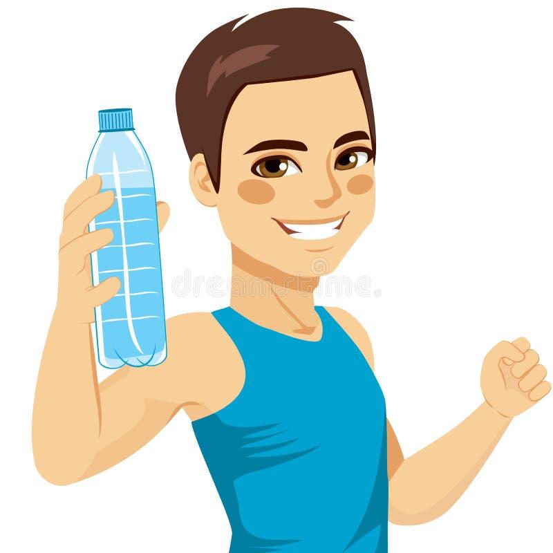 Homme montrant la bouteille de l'eau illustration de vecteur