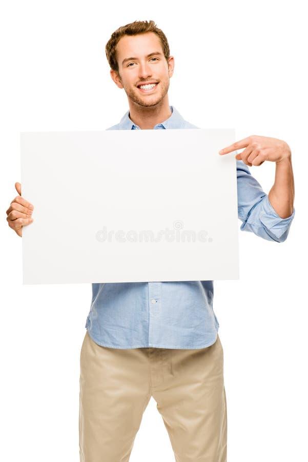 Homme montrant la plaquette vide de blanc de l'espace image stock