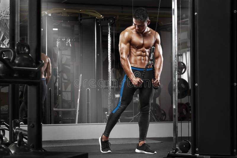 Homme musculaire établissant dans le gymnase faisant des exercices aux triceps, ABS nu masculin fort de torse photo libre de droits
