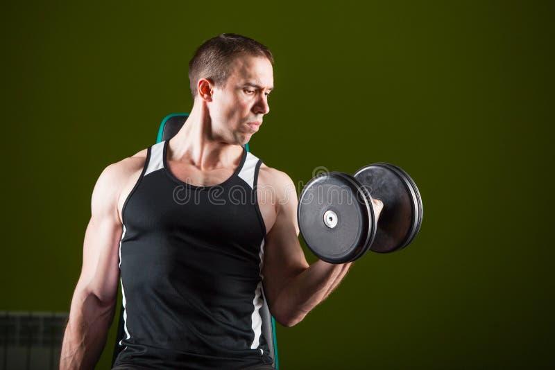Homme musculaire établissant dans le gymnase faisant des exercices avec des haltères, torse nu masculin de bodybuilder photos stock