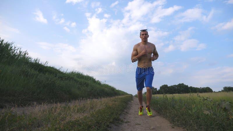 Homme musculaire courant à la route de campagne Jeune type sportif pulsant à la traînée rurale au-dessus du champ Formation mascu photos stock