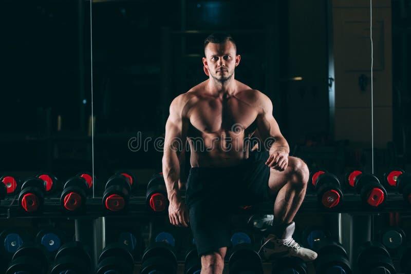 Homme musculaire dans le gymnase tenant les haltères proches, ABS nu masculin fort de torse photos libres de droits