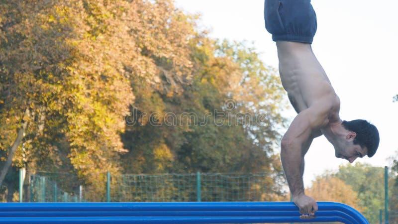 Homme musculaire fort faisant un appui renversé en parc Type masculin musculaire convenable de forme physique faisant des cascade photographie stock