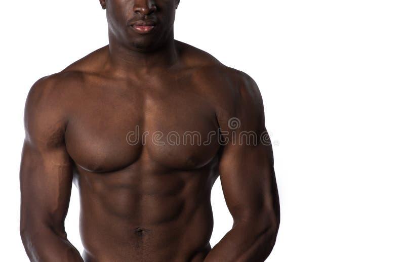 Homme musculaire sans chemise d'Afro-américain image libre de droits