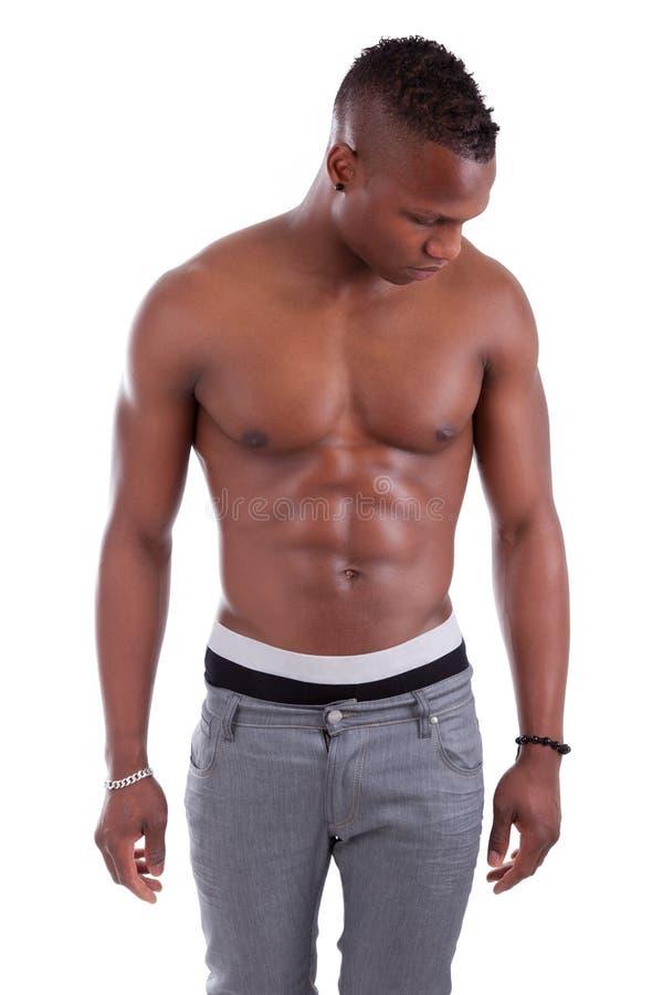Homme musculaire sexy d'afro-américain sans chemise photo libre de droits