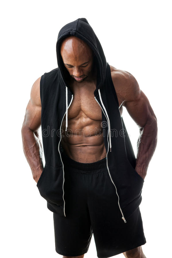 Homme musculaire utilisant un Hoodie image libre de droits