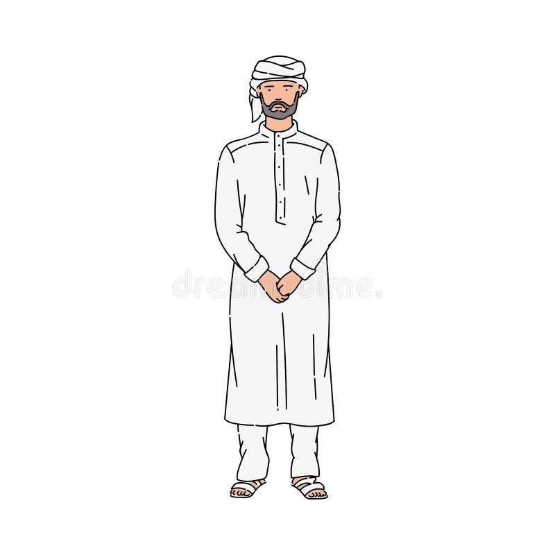 Homme musulman de bande dessinée dans la position grise traditionnelle de thobe et de turban avec le visage sérieux illustration de vecteur