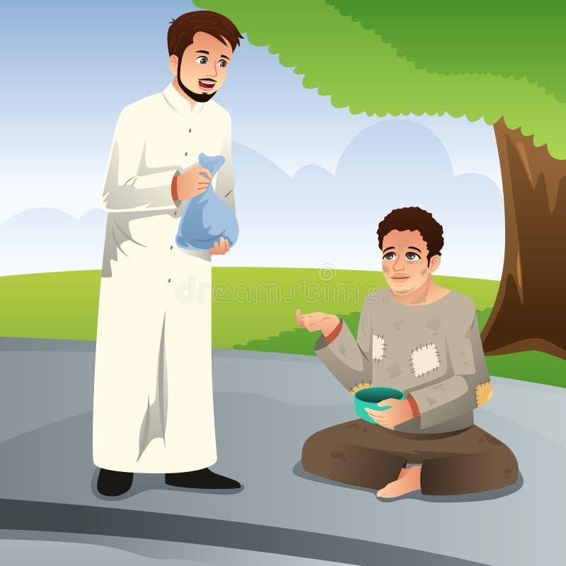 Homme musulman donnant la donation à un pauvre homme illustration de vecteur