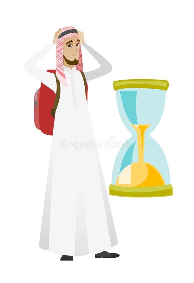 Homme musulman inquiété de voyageur regardant le sablier illustration libre de droits