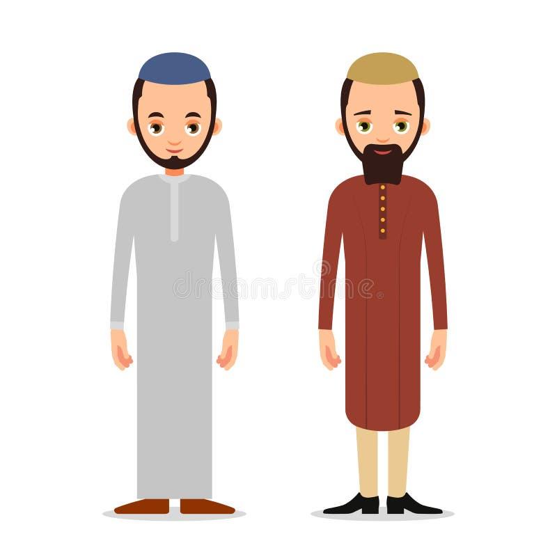 Homme musulman ou support d'homme d'Arabe dans l'habillement traditionnel Isolat illustration de vecteur