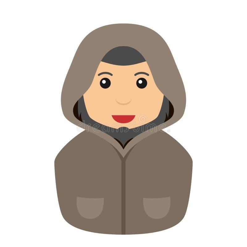 Homme mystérieux avec Hood Avatar Flat Icon illustration stock