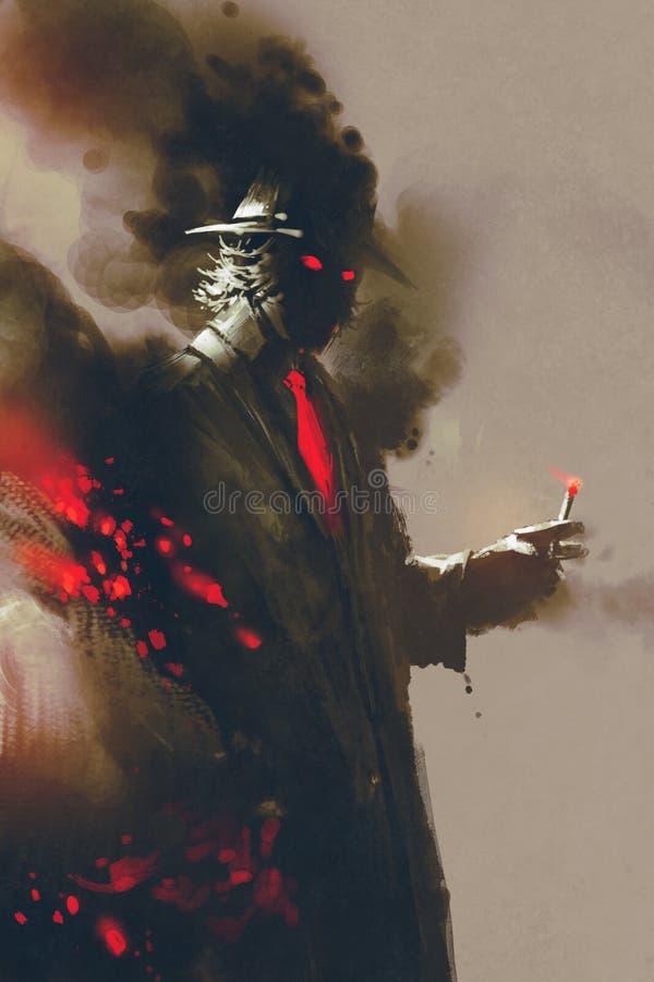 Homme mystérieux avec le chapeau tenant une cigarette illustration stock
