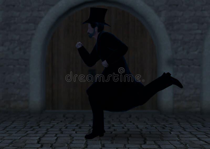 Homme mystérieux courant dans l'illustration foncée de nuit illustration libre de droits