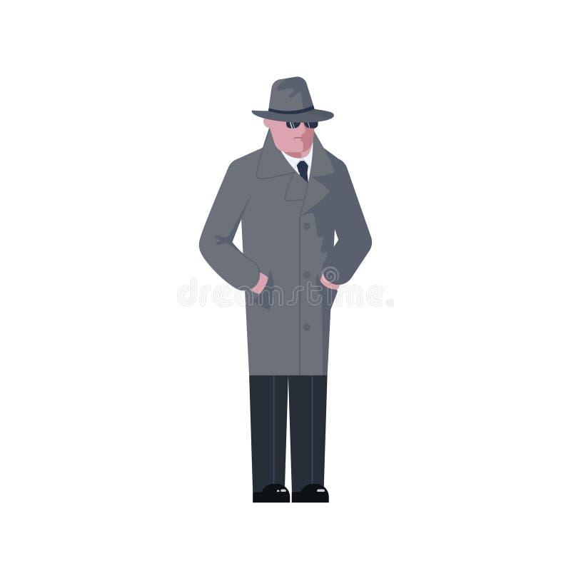 Homme mystérieux portant un chapeau et un manteau gris illustration libre de droits