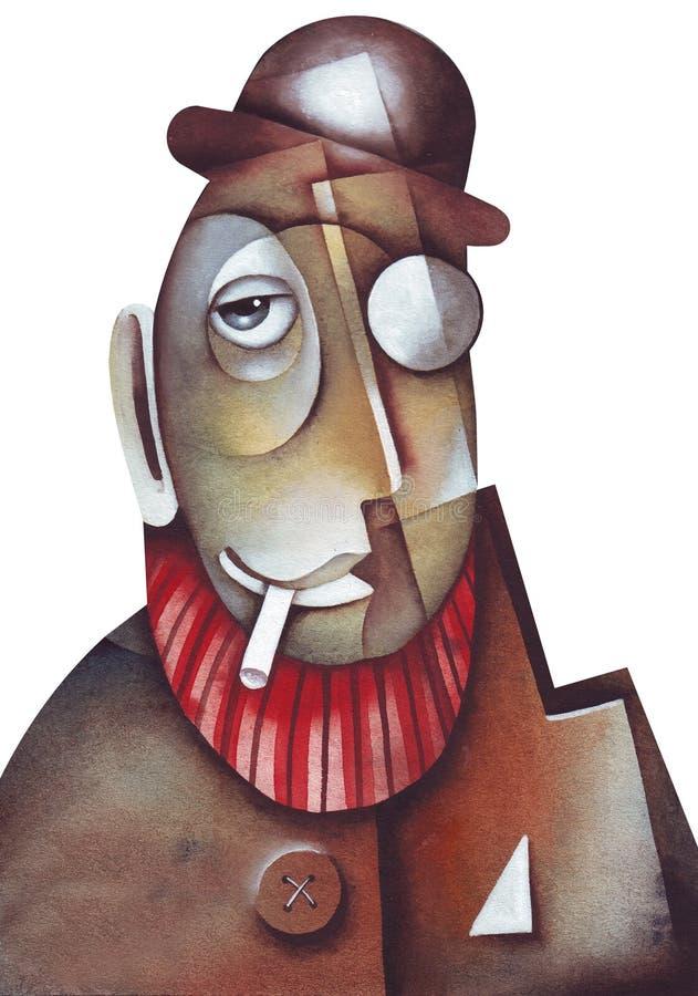 Homme mystérieux, type de Mafia ou police secrète illustration libre de droits