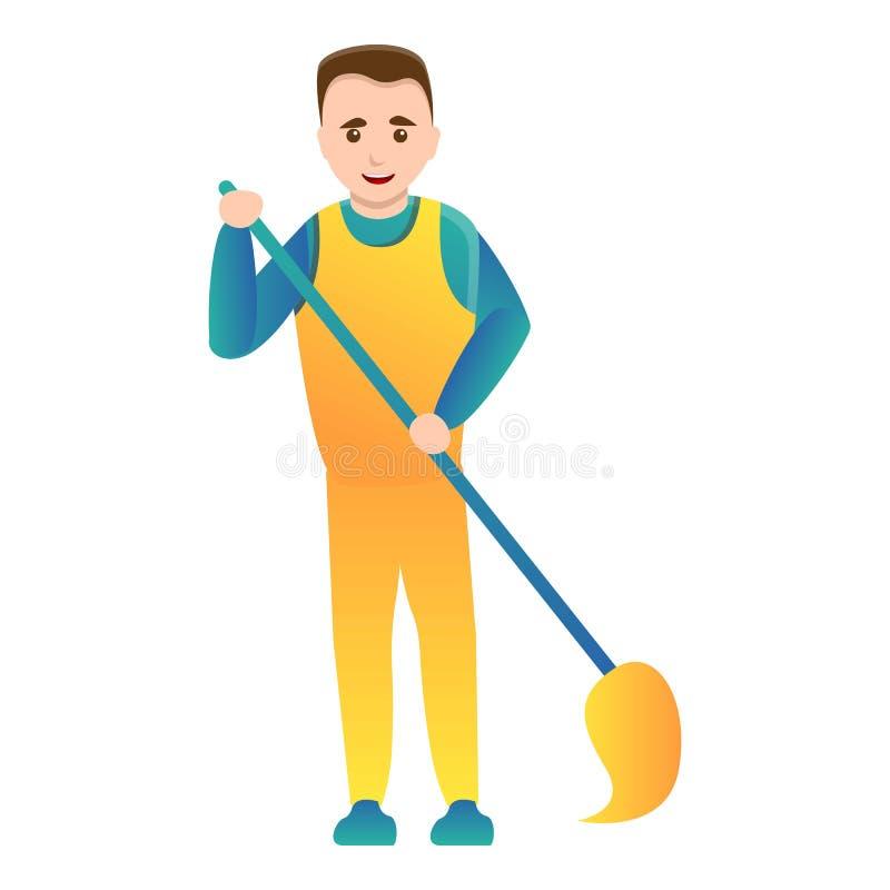 Homme nettoyant à la maison avec l'icône de balai, style de bande dessinée illustration de vecteur