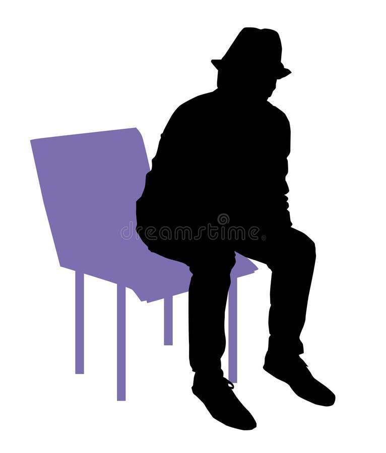 Homme noir de silhouette s'asseyant sur une chaise illustration de vecteur