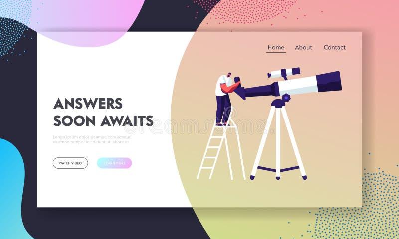 Homme observant au télescope se tenant sur l'échelle, étudiant l'espace, exploration de cosmos, scientifique, éducation, la Scien illustration stock
