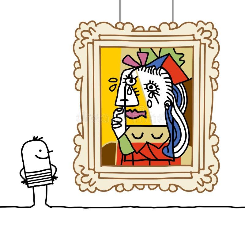 Homme observant une parodie de Pablo illustration stock