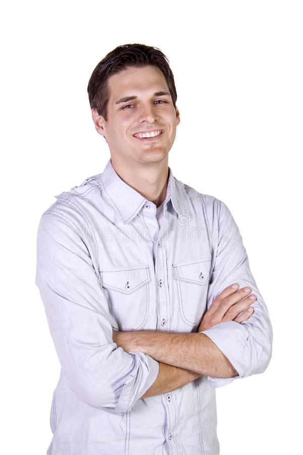 Homme occasionnel avec une pose de jupe images stock