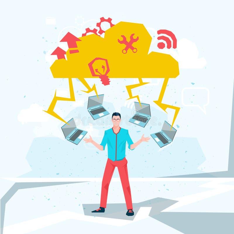 Download Homme Occasionnel D'affaires Avec La Technologie De Base De Données De Nuage D'ordinateurs Portables Illustration de Vecteur - Illustration du businessman, hommes: 77158920