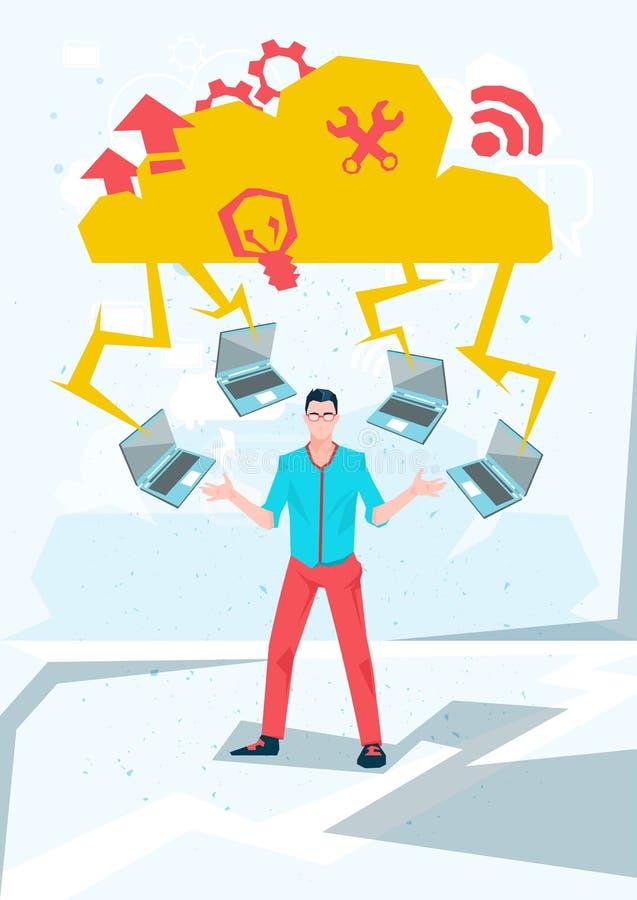 Download Homme Occasionnel D'affaires Avec La Technologie De Base De Données De Nuage D'ordinateurs Portables Illustration de Vecteur - Illustration du mobilité, application: 77159638