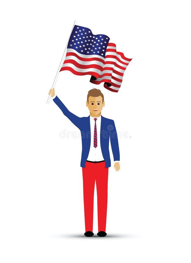 Homme ondulant un drapeau des Etats-Unis illustration de vecteur