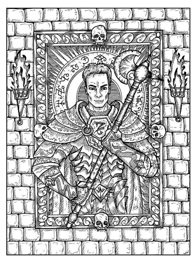 Homme ou guerrier Concept mystique noir et blanc pour la carte de tarot d'oracle de Lenormand illustration libre de droits