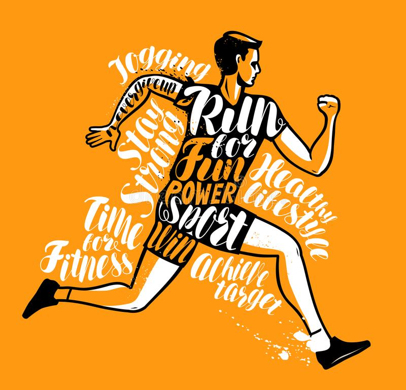 Homme ou sportif courant Sport, affiche de forme physique Conception typographique, illustration de vecteur illustration de vecteur