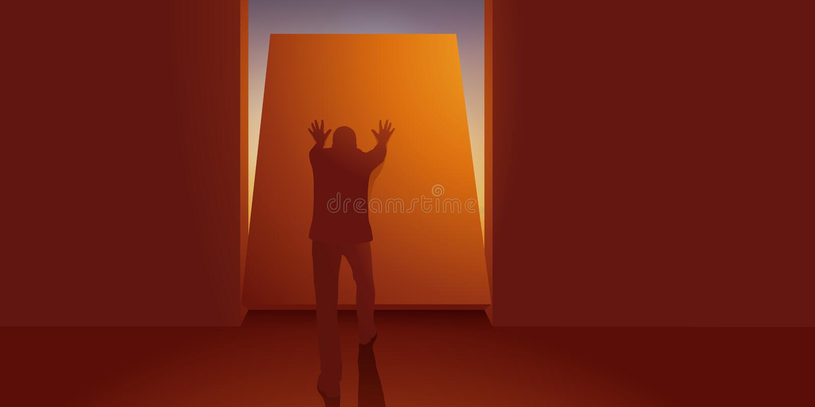 Concept of escape with a man who finds the way to freedom by pushing a wall. stock photos
