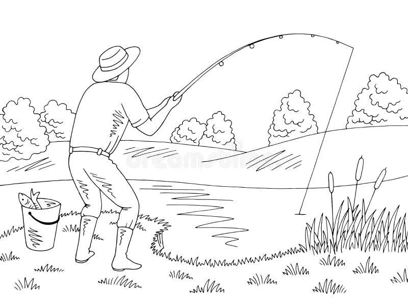 Homme pêchant le vecteur blanc noir graphique d'illustration de croquis de paysage illustration libre de droits