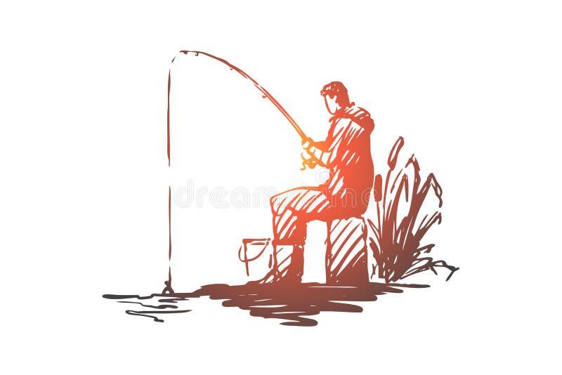 Homme, pêche, passe-temps, loisirs, concept de tige Vecteur d'isolement tiré par la main illustration stock
