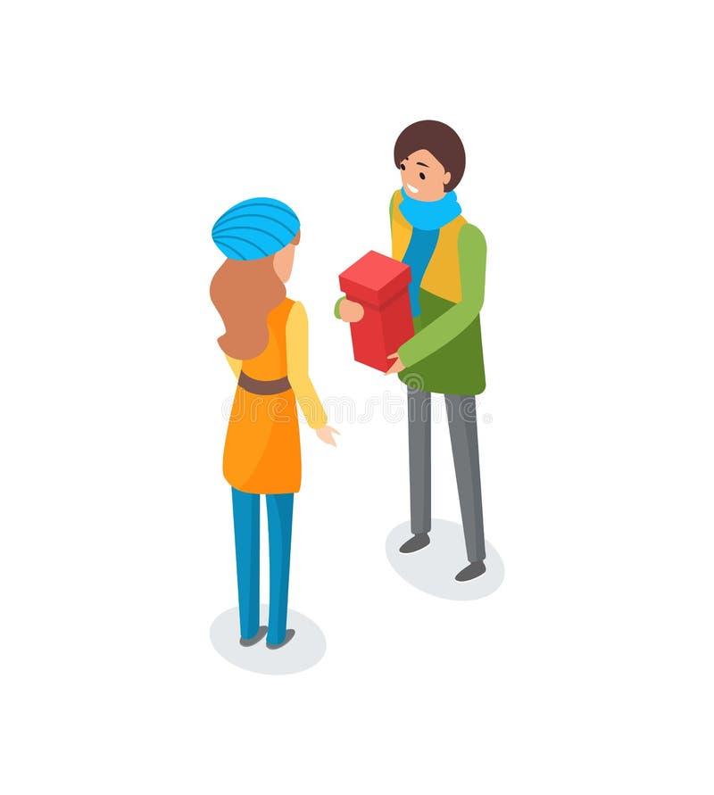 Homme parlant à la femme et tenant le présent dans la boîte illustration de vecteur