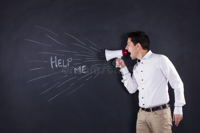 Homme parlant au mégaphone photographie stock libre de droits