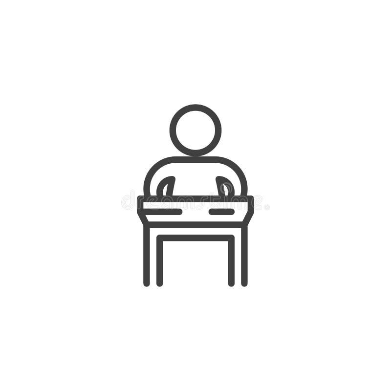 Homme parlant de la ligne icône de tribune illustration stock