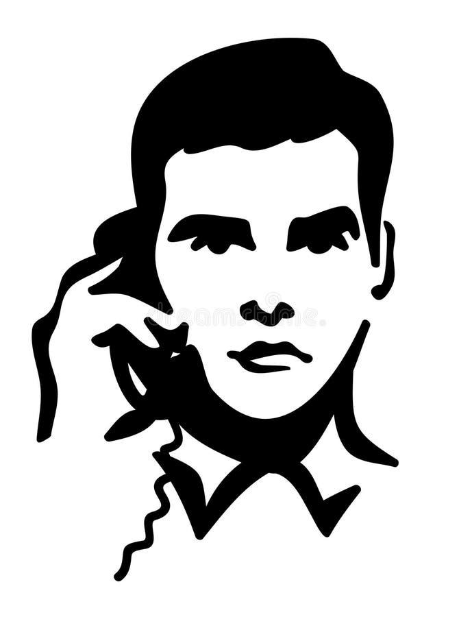 Homme parlant du téléphone. JPG et ENV illustration de vecteur