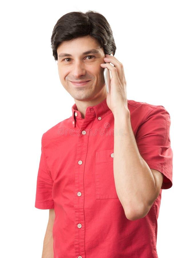 Homme parlant sur le mobile images stock