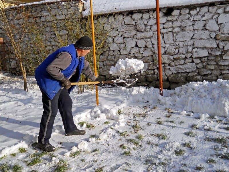 Homme pellant la neige images libres de droits