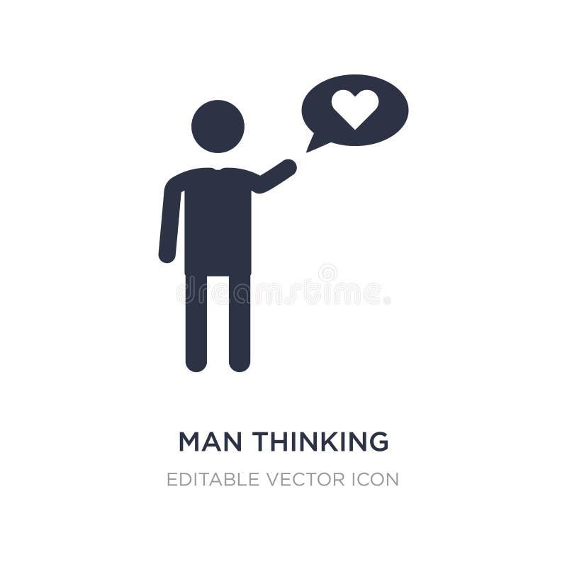 homme pensant à l'icône d'amour sur le fond blanc Illustration simple d'élément de concept de personnes illustration stock