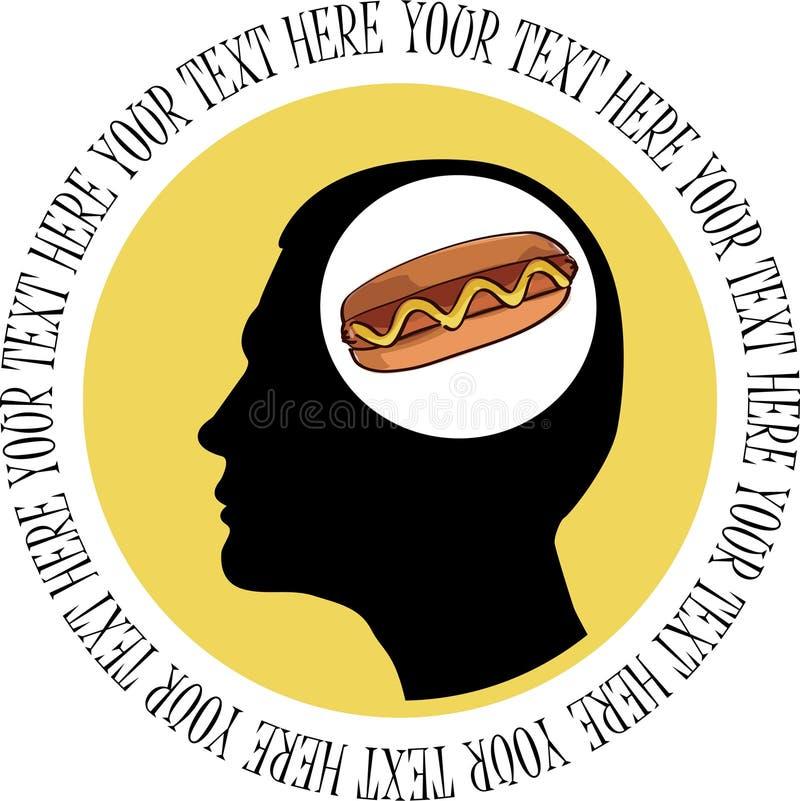 Homme pensant au hot-dog. illustration stock