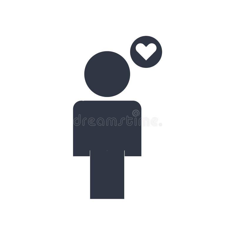 Homme pensant au signe et au symbole de vecteur d'icône d'amour d'isolement sur le fond blanc, homme pensant au concept de logo d illustration de vecteur