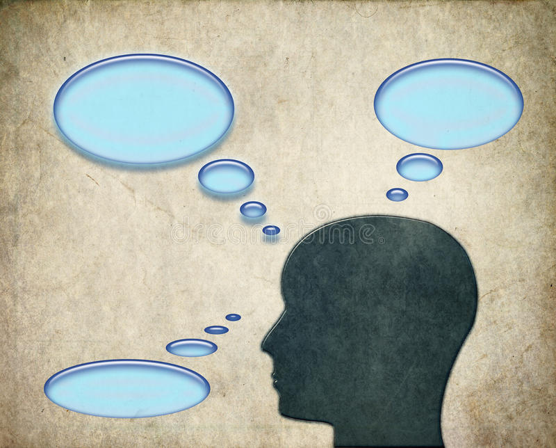 Homme pensant aux pensées avec des bulles illustration de vecteur