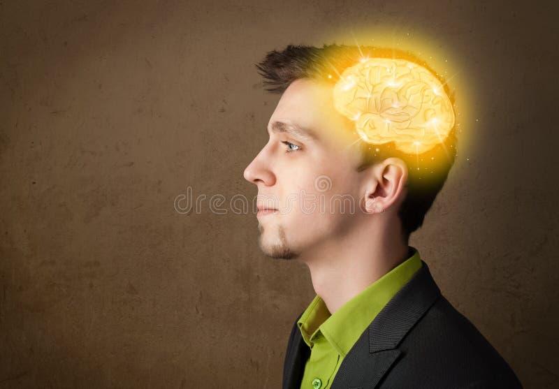 Download Homme Pensant Avec L'illustration Rougeoyante De Cerveau Illustration Stock - Illustration du rougeoyer, modèle: 45365716