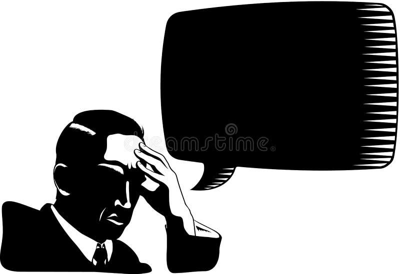 Homme pensant avec la bulle de la parole illustration de vecteur