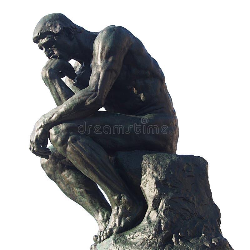 Homme pensant - le penseur par Rodin image libre de droits