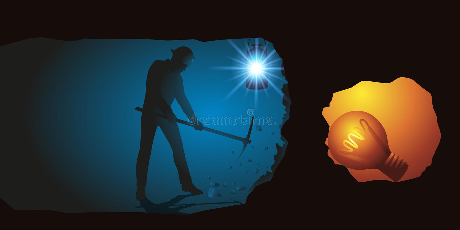 Symbol of reflection with a man digging an underground in search of an idea represented by a light bulb. stock photo