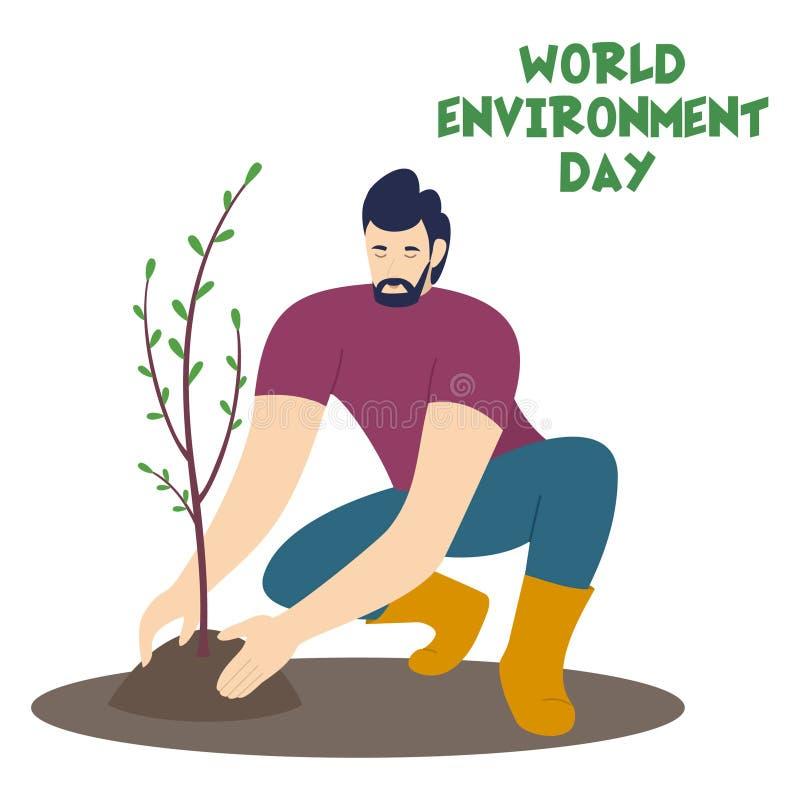 Homme plantant un arbre Illustration de vecteur pour le jour d'environnement du monde illustration stock