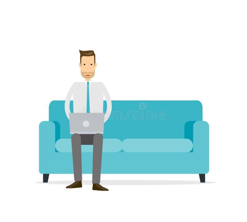 Homme plat d'affaires travaillant au sofa illustration de vecteur