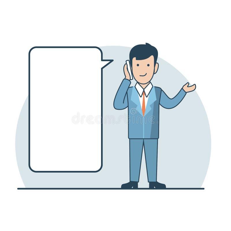 Homme plat linéaire d'affaires faisant le vecteur d'appel téléphonique illustration stock
