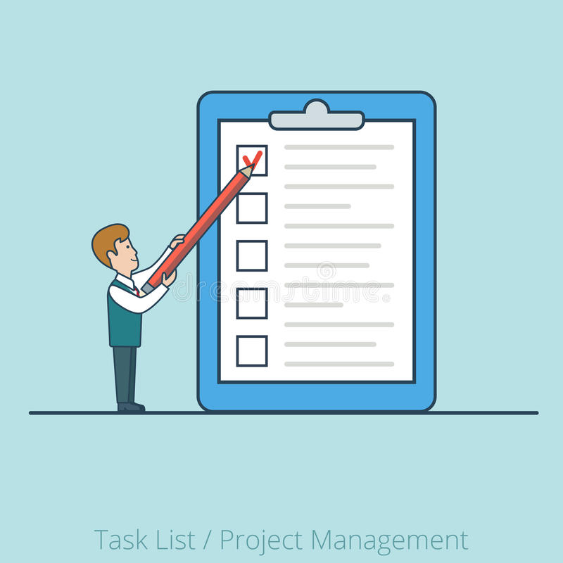 Homme plat linéaire de tâche de projet de vecteur de papier de liste d'homme illustration de vecteur